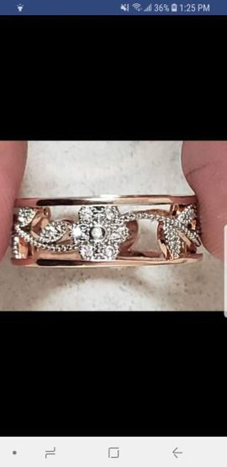Rose gold plated sterling silver ring size 10