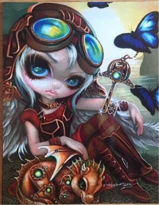 "BIG EYED AVIATOR WITH DRAGON  - 4 x 5"" MAGNET"
