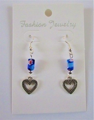 NEW- SWEET LITTLE DANGLE HEARTS W/ BLUE GLASS MILLEFIORI BEADS