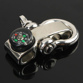 2Pcs Stainless Adjustable Buckle Paracord Survival Bracelet Shackle With Compass