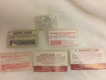 6 ASSORTED PHARMACY EPHEMERA VINTAGE LABELS CORN REMOVER AND MORE