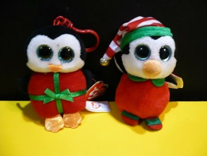 Ty Christmas Beanie Boos 4in Hook On Set of 2 Beanies **Chill and Happy**