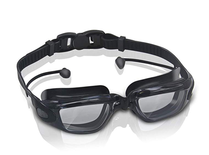 GLOUE Premium Swimming Goggles w/ Attached Ear Plugs Underwater Glasses No Leak Clear AntiFog Lenses