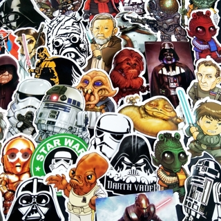 [GIN FOR FREE SHIPPING] 50Pcs Star Wars Cartoon Not Repeat Waterproof Sticker
