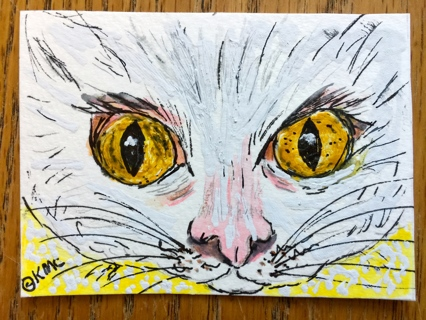 "Original Watercolor ACEO Art Trading Card ""Yellow Eyes White Cat"" by Award winning Artist"