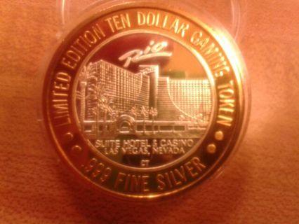 $10.00 silver strike from RIO casino Las Vegas