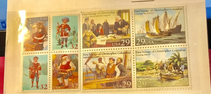 free mint new unhinged usps collectible stamps assortment of christmas and columbus in america