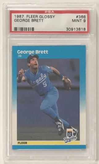 1987 Fleer Glossy #366 George Brett PSA Graded 9 MINT MLB Kansas City Royals Baseball Card