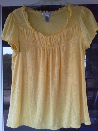 Free: Lovely Lemon Yellow Short Sleeved Blouse Med