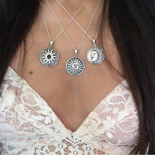 3 Pcs/ Set Retro Engraving Sun Constellation Tarot Symbol Chain Pendant Silver Necklace Women