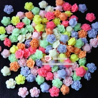 50Pcs 13mm Mixed Color Rose Flower Spacer Loose Beads DIY Craft Charms