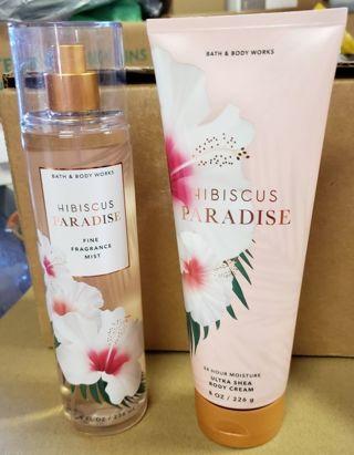 Set of (2) FULL SIZE Bath & Body Works Hibiscus Paradise Shea Body Cream + Fine Fragrance Mist!