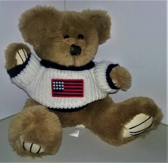 """1996 County Seat stuffed plush bear with knitted sweater - 12"""" tall - Made in China for Embrace"""