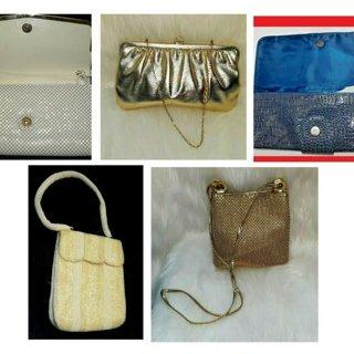 5 Vintage Handbags Purse Tote Lot SWANK