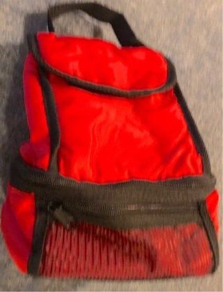 BNWOT Red Insulated Lunch Sack w/Zip Compartments, Separate Area For Water, Sodapop...