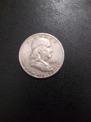 1957 D Silver Franklin Half Dollar