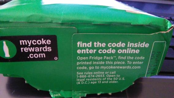 1 My Coke Rewards Fridge Pack Code