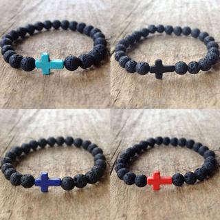 Cross Beaded Mens Lava Rock Stone Turquoise Elastic Charm Bracelet Yoga Jewelry