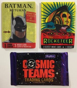 Superhero Wax / Cello Sealed Trading Card Packs 3 Mixed Lot - DC Comics Batman / Cosmic Teams