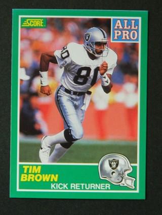 1989 Score Tim Brown (Kick Returner)  #305 James Lofton ERROR Rookie RC Card / Los Angeles Raiders