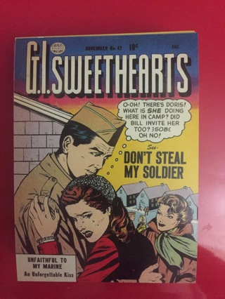 GI SWEETHEARTS NOVEMBER DON'T STEAL MY SOLDIER COMIC POSTCARD
