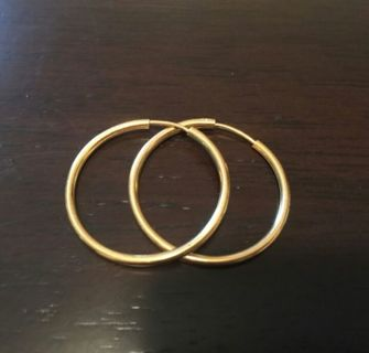 REAL 18K Gold Hoop Earrings...NOT PLATED...Free gift included!!!