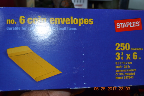 ****STAPLES 7 COIN ENVELOPES***GIN BONUS***FREE SHIPPING