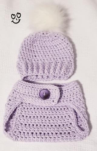Crochet Newborn GIRL Photography Outfit Crochet Baby Diaper Cover & Beanie