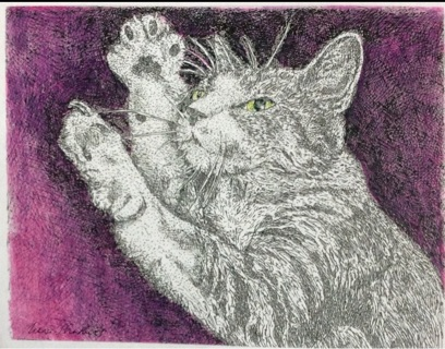 """STRETCHING TABBY - 5 x 7"""" Art Card by artist Nina Struthers - GIN ONLY"""