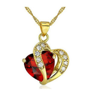 Fashion Womens Heart Red Crystal Rhinestone Gold Chain Pendant Necklace