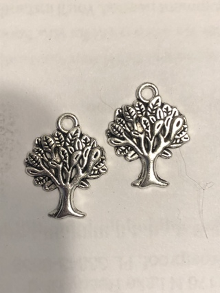 New 2 Tree Charms Antiquated  Silver