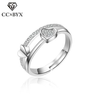 CC Open Rings For Women Heart-Shaped Lover Anel Bridal Wedding Fashion Jewelry Engagement Bijoux