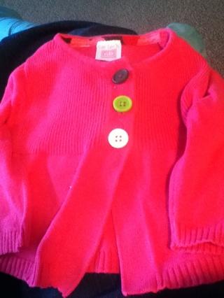 Newborn girls pink cardigan sweater