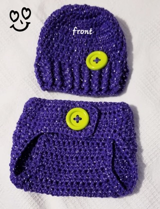 Crochet Newborn Girl Photography Outfit Crochet Baby Diaper Cover & Beanie