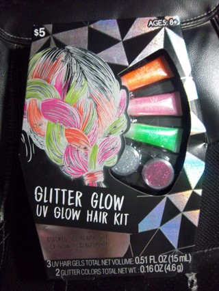 NEW - GLITTER GLOW UV GLOW HAIR KIT - Great for Glow Parties or Glow Runs