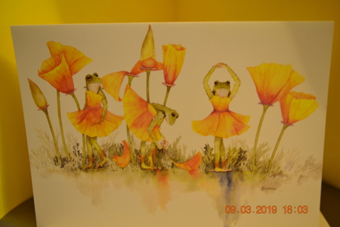 "****""POPPY TUTU"" WATERCOLOR BY BAMBI PAPIS BLANK CARD W/ENVELOPE***FREE SHIPPING"