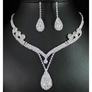 Crystal Tear Drop Earrings Necklace Wedding