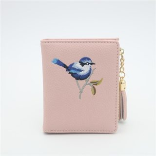 Wallet Women Hasp Zipper Small Embroidery Wallet , Female Purse Coin Card Holder Dollar Bag