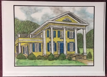 "YELLOW COLONIAL HOUSE  - 5 x 7"" art card by artist Nina Struthers - GIN ONLY"
