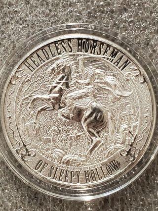 Headless Horseman 1 oz .999 Silver Coin Sleepy Hollow NY Ghost troubled spirits