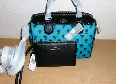 Coach Badlands Floral Black & Turquoise Mini Bennett Satchel & Leather Wristlet NWT $370