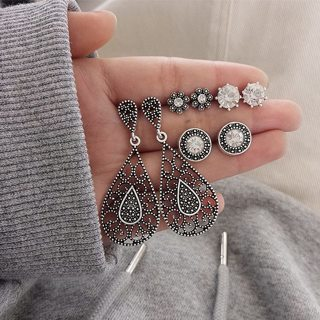 8 Pcst Women Fashion Carved Hollow Water Drops Round Crystal Gem Pendant Silver Earrings