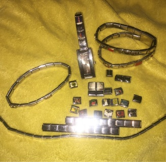 HUGE Charm Bracelet Watch LOT DLinQ Charmed Moments