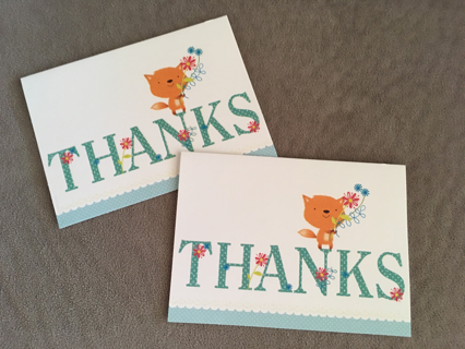 2 BLANK GLITTER CARDS SAYING THANKS