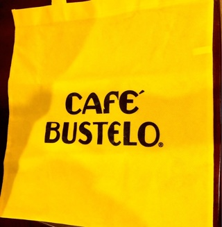 "Brand New Yellow 'Cafe Bustelo' Reusable Tote Bag 15""x15"". Roomy and with many uses!"