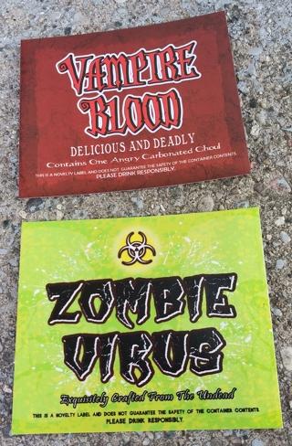 HALLOWEEN LIQUIOR BOTTLE LABELS VAMPIRE BLOOD AND ZOMBIE VIRUS USE ON BEER & POP CANS OR BOTTLES