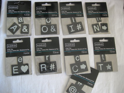 Chalk tiles w/letters and symbols, 3 packs of 3 tiles