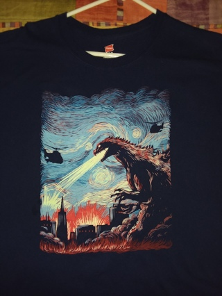Godzilla Attacks on a Starry Night Van Gogh Style Art Adult XL T-Shirt