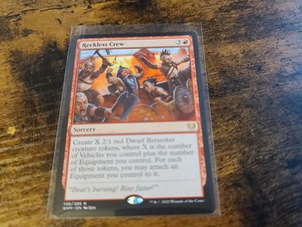 Magic the gathering mtg Reckless Crew rare card kaldheim