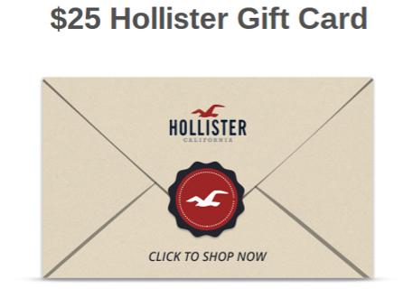 Free: w/GIN **HOLLISTER Gift Card** E